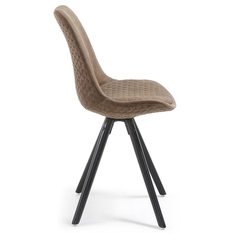 【SALE】LARS Chair black wood quilted fabric tan