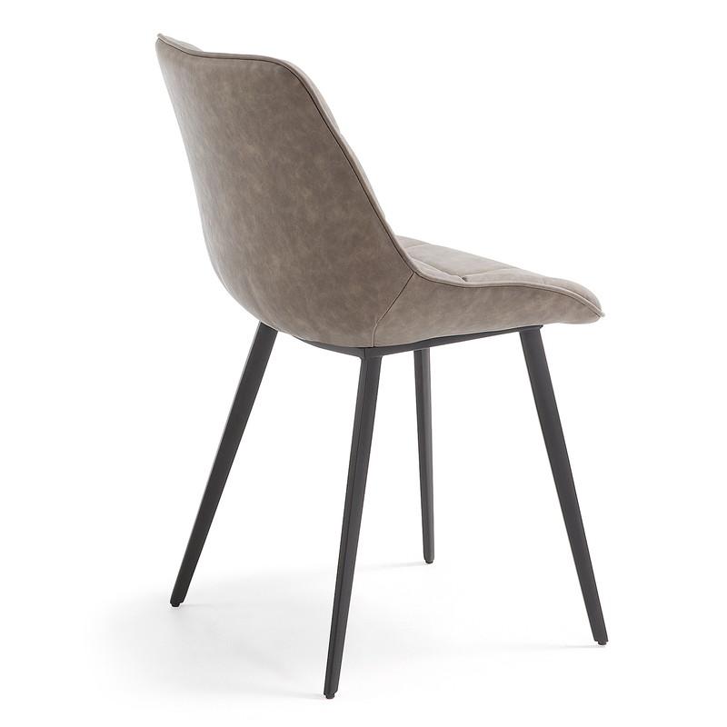 ADAH Chair metal black PU taupe