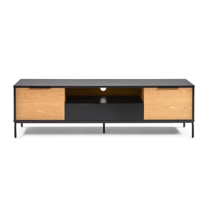 SAVOI TV cabinet 170x50 mdf matt black. oak veneer