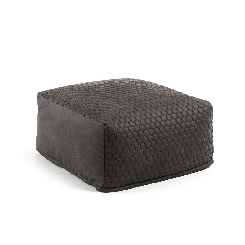 DAMIAN Pouf 60x60 quilted fabric graphite