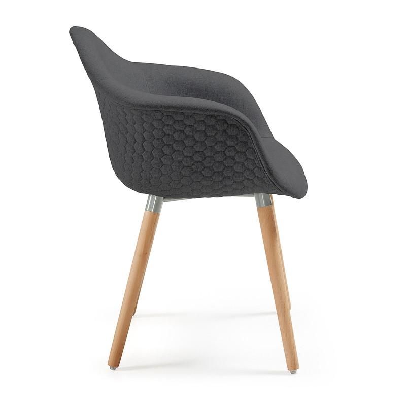 【SALE】KENNA Armchair wood natural fabric dark grey
