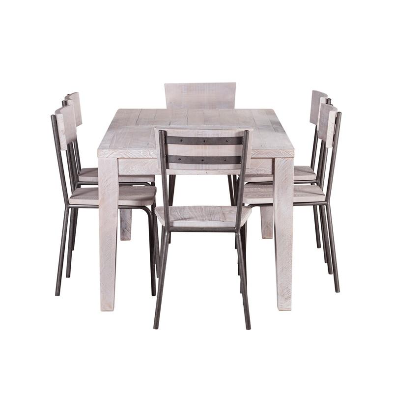 【SALE】WOODY Chair metal pine wood white wash