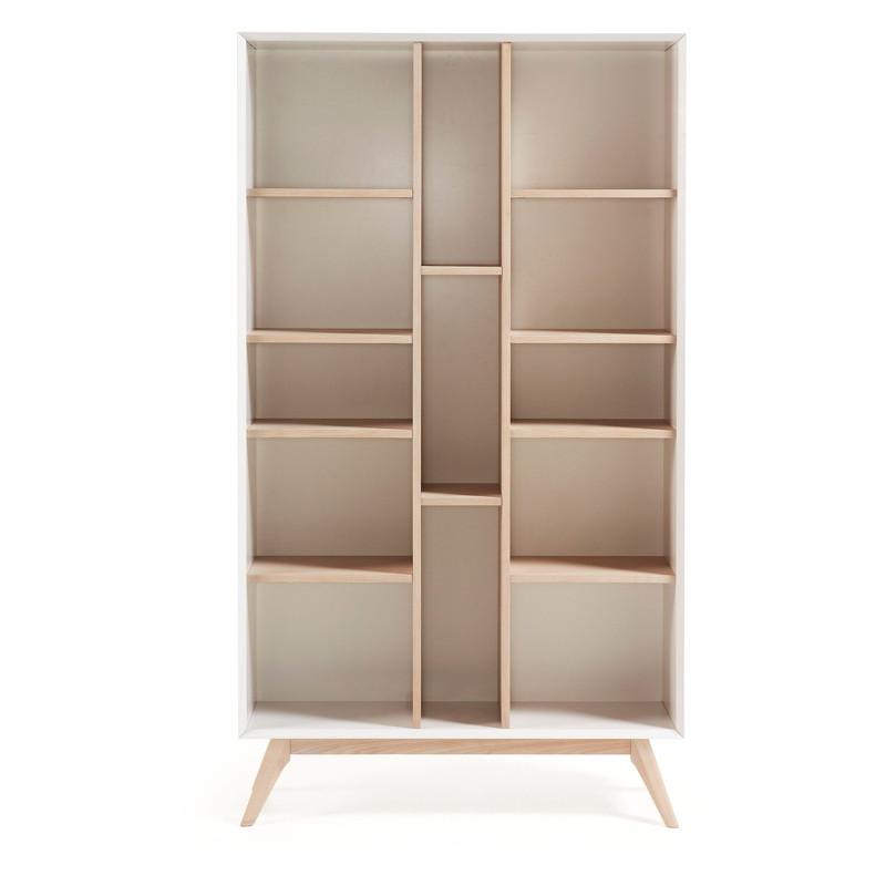 【SALE】QUATRE Bookshelf 104×184 ash veneer, matt white MDF