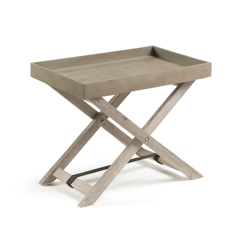STAHL Table folding acacia white brushed cement brown