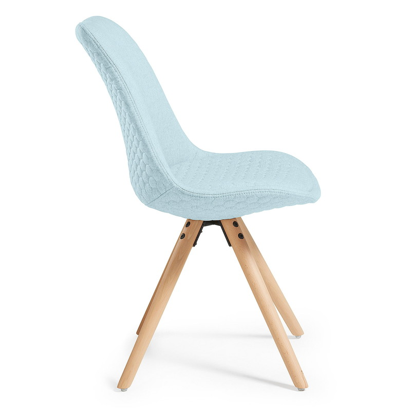 【SALE】LARS Chair natural wood quilted fabric light blue