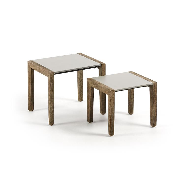 CLIMBY Set 2 side tables eucalyptus and poly-cement