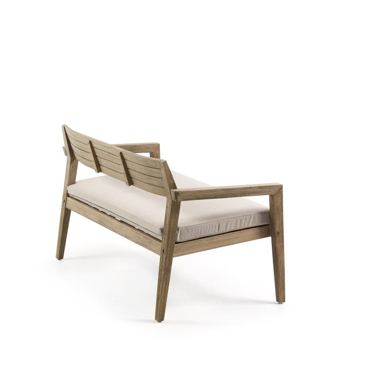 CLIMBY Bench 2 seaters grey washed eucalyptus cushion