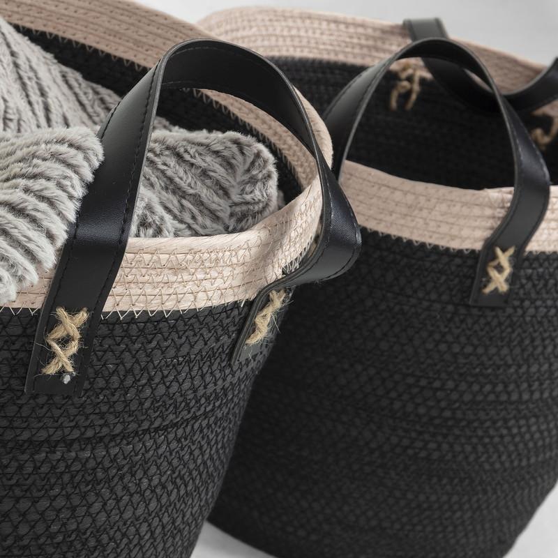 KUOMI Set 2 baskets rope black