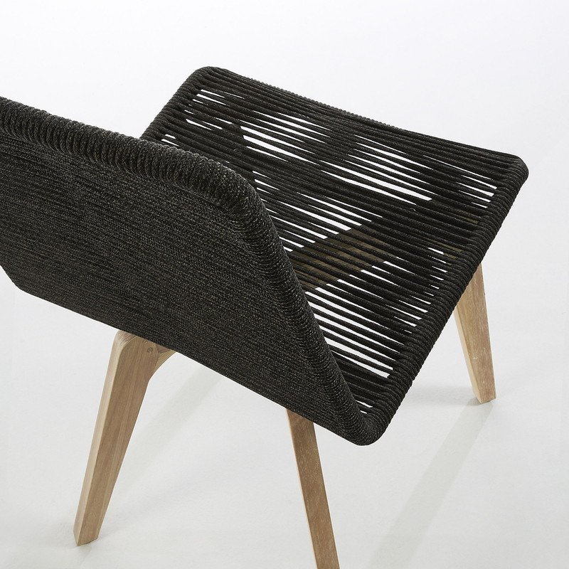 GLENDON Chair eucalyptus natural rope dark grey