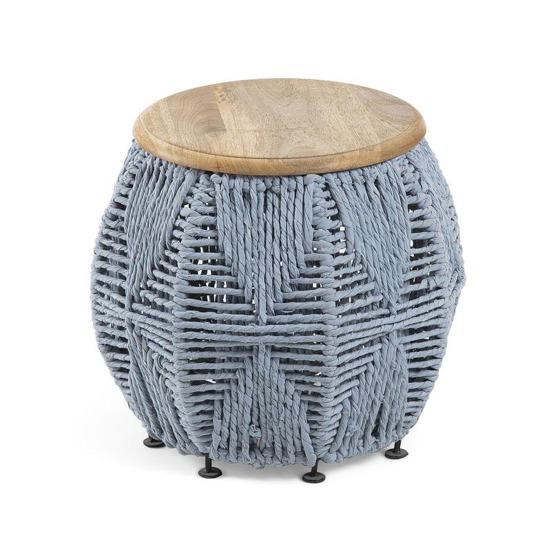 【SALE】HALLEY Side table madera mango cuerda gris