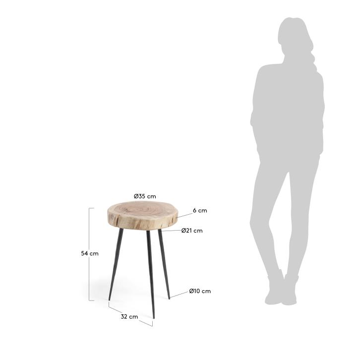 ROUSY Side table metal black acacia wood