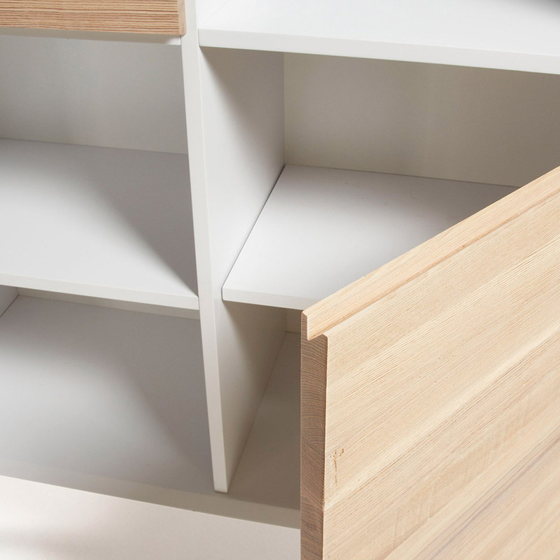 【SALE】QUATRE Bookshelf 104x152  ash wood, matt white MDF