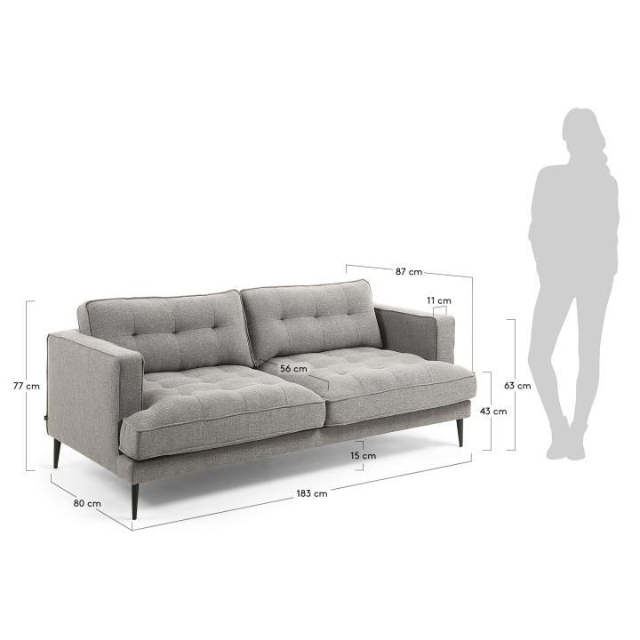VINNY Sofa 3 seaters metal black fabric grey