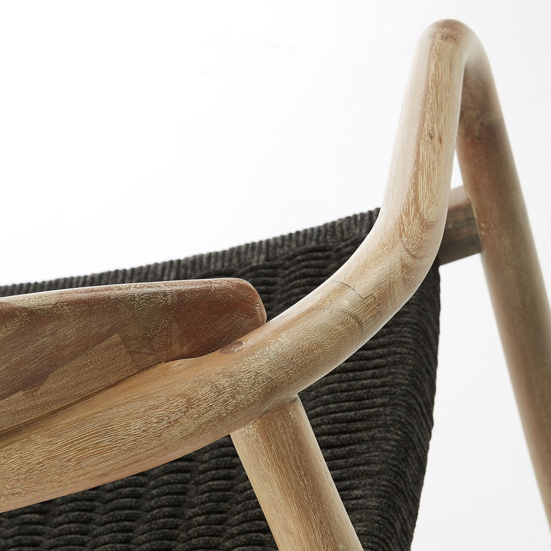 GLYNIS Armchair eucalyptus natural rope dark grey