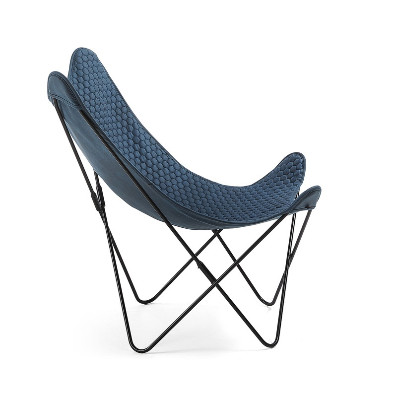 FLYNN Armchair metal black fabric blue