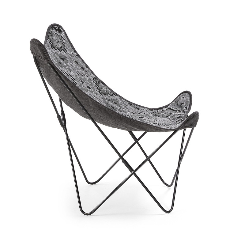 FLYNN Armchair metal black fabric dark grey