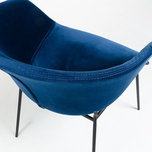 ZADINE Armchair of black metal and blue velvet