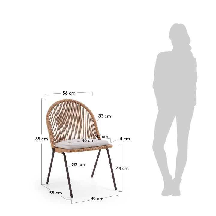 STAD Chair brown metal brown beige rope