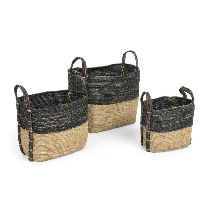KUOMI Set 3 baskets maize leaf natural grey