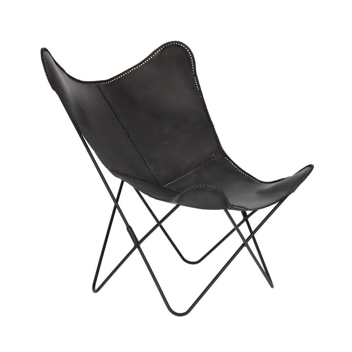 FLYNN Black leather chair