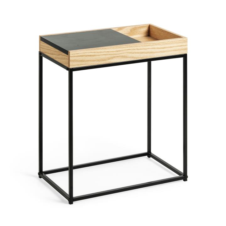 DIANE Side table metal black oak veneer