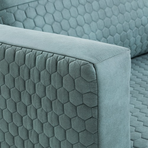 VINNY Sofa 3 seaters metal quilted fabric turquoise