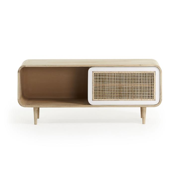 GERALD Tv cabinet 120x50 mango wood natural white