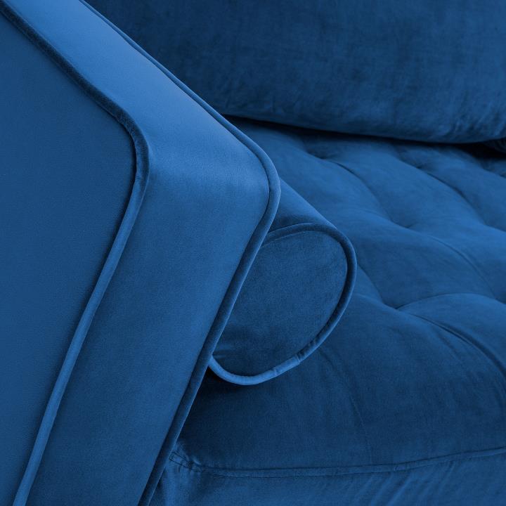 BOGART Sofa 3 seaters beech wood velvet dark blue