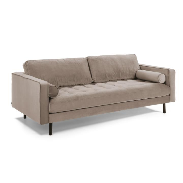 BOGART Sofa 3 seaters beech wood velvet taupe