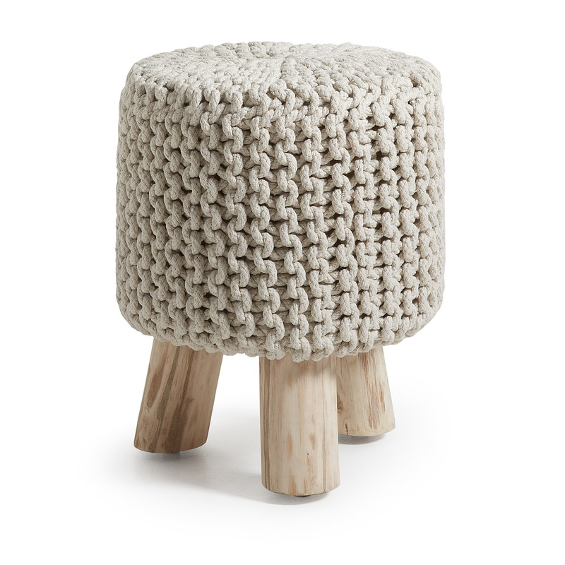 SLEEK Footrest eucalyptus wood cotton white
