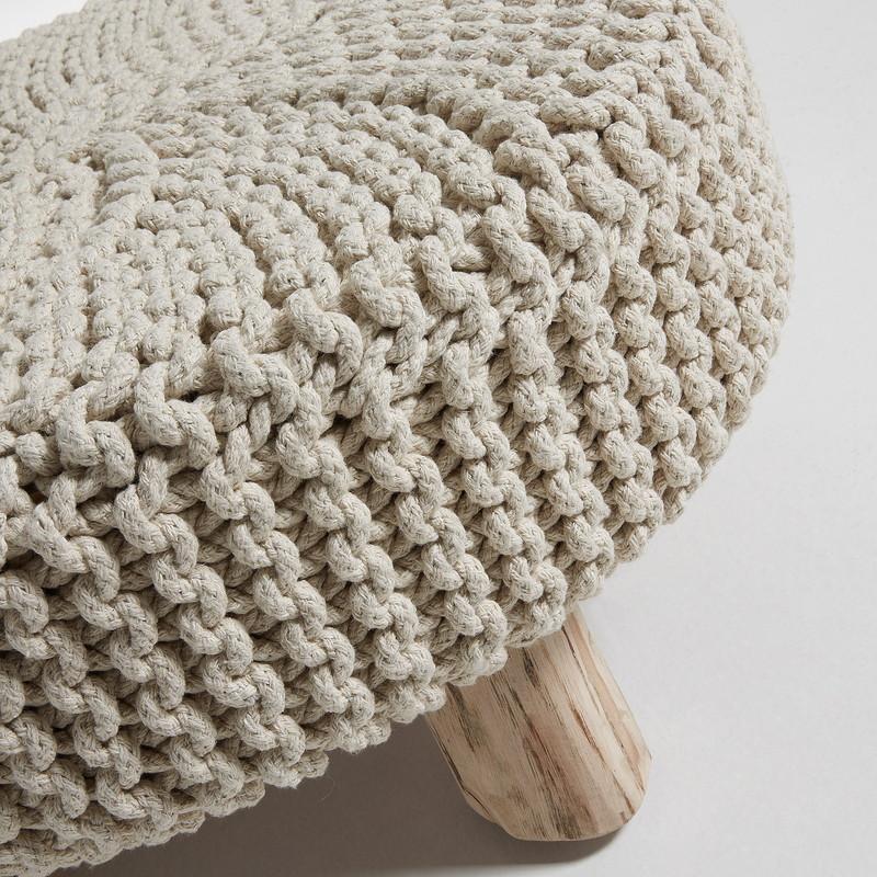 STORM Footrest eucalyptus wood cotton white
