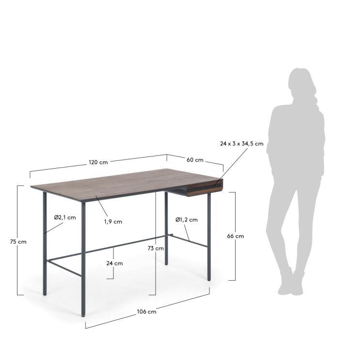 MAHON Desk 120x60 walnut veneer, mdf matt graphite