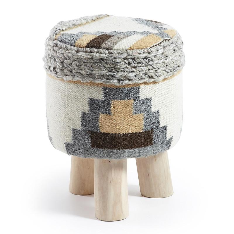 LOK Footrest eucalyptus wool multicolor