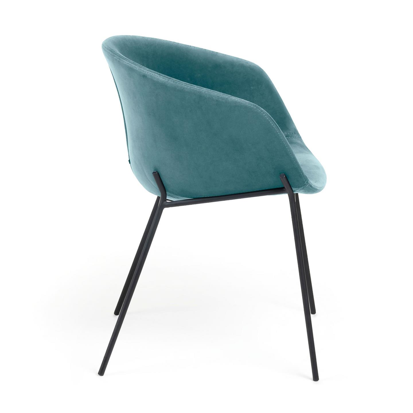 ZADINE Armchair of black metal and turquoise