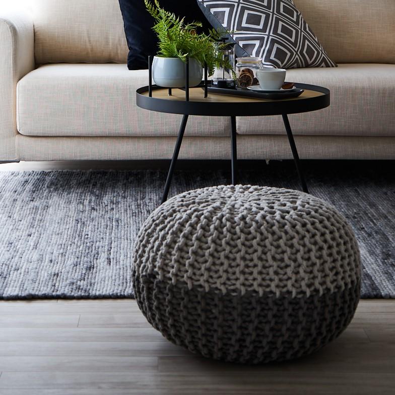 ARIEH Pouf cotton round 50x35 grey