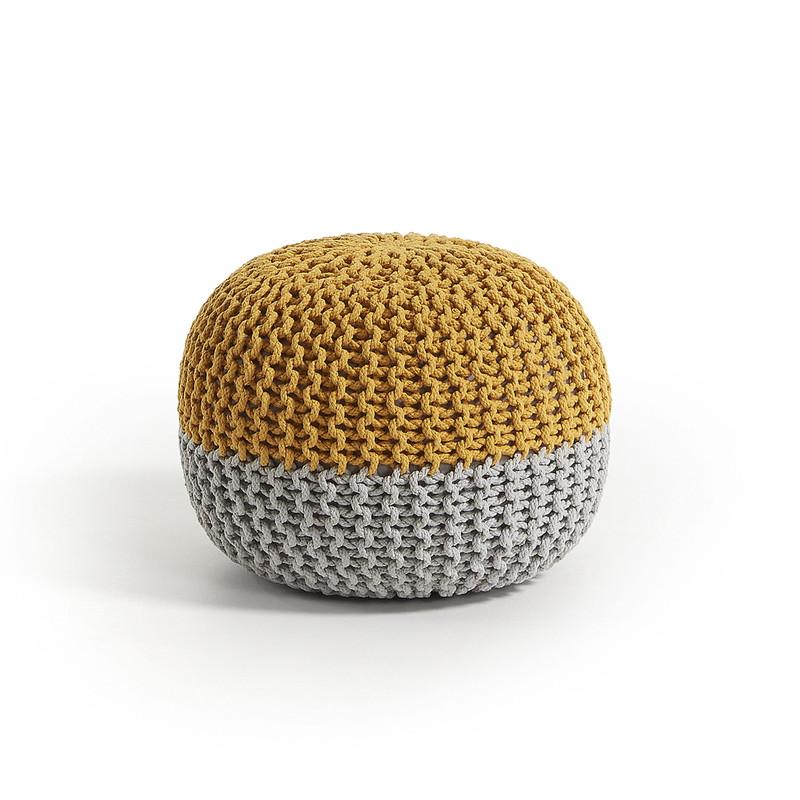 ARIEH Pouf cotton round 50x35 mustard grey