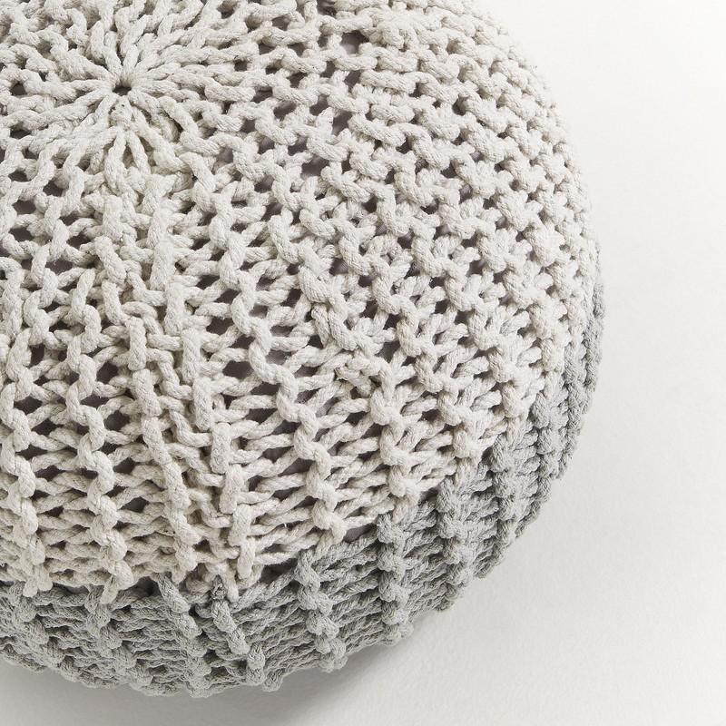 ARIEH Pouf cotton round 50x35 grey and white