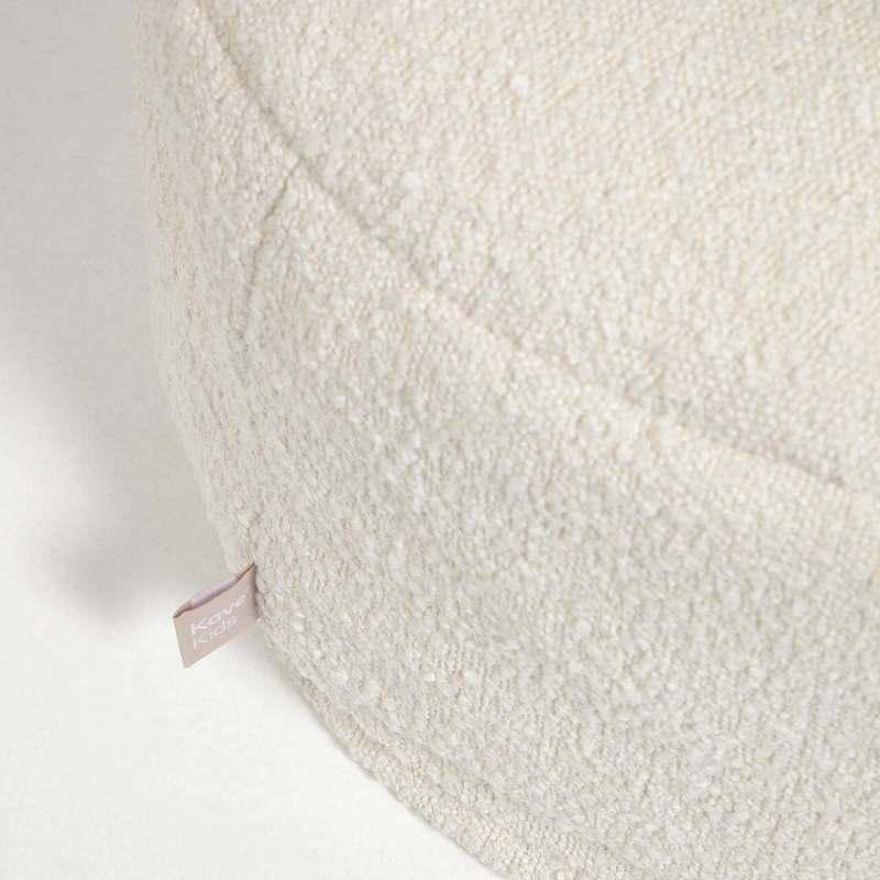 Adara white sheepskin pouffe, Φ 50 cm