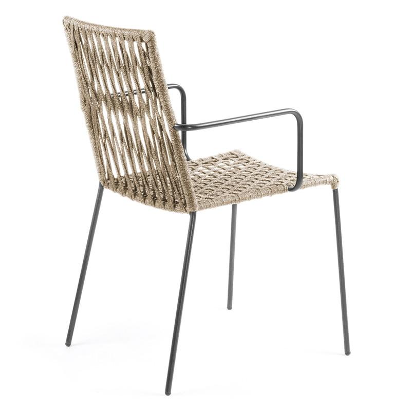 【SALE】BETTIE Armchair metal grey rope beige