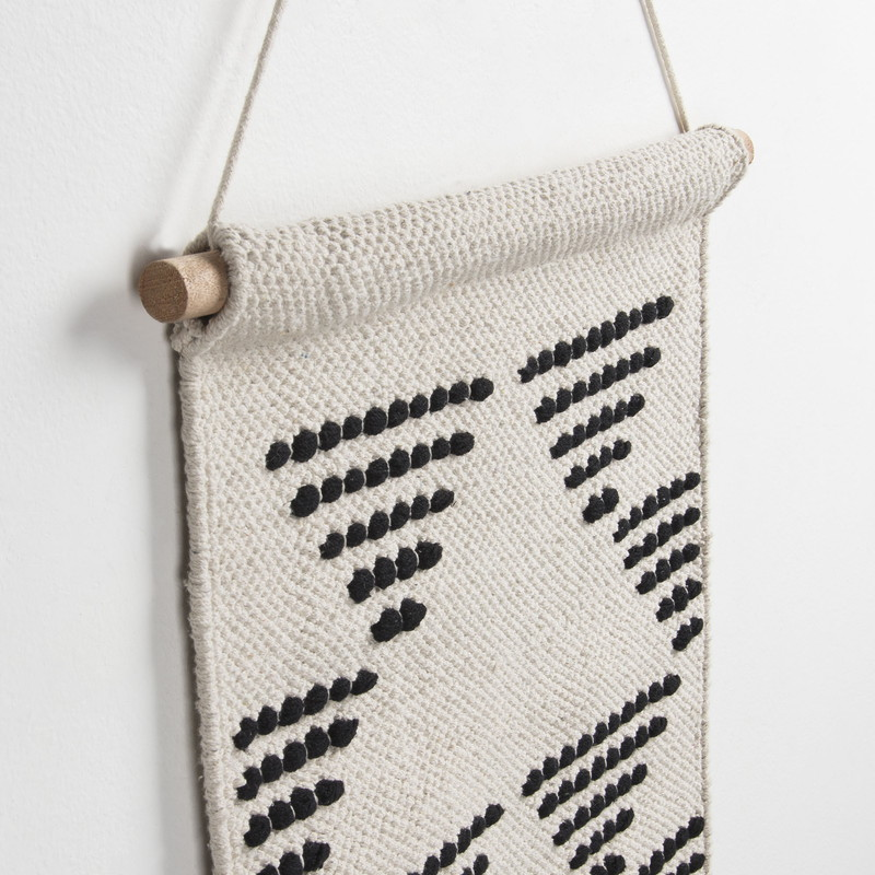 FINCH Wall tapestry cotton white black