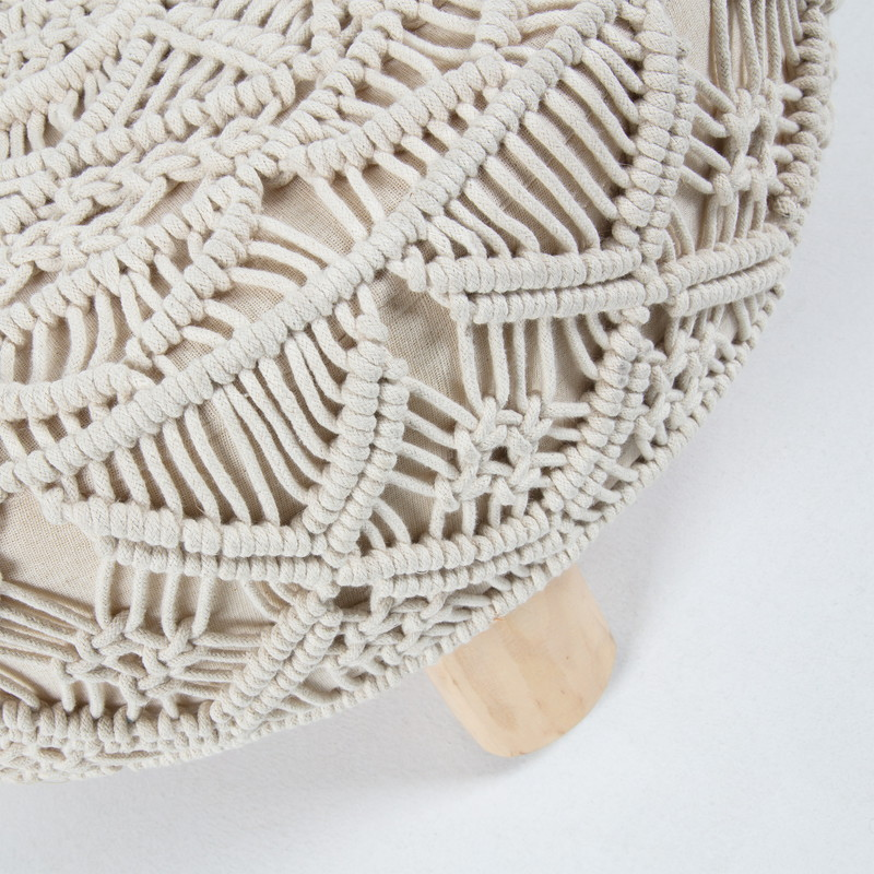 DANKO Footrest mango wood cotton white