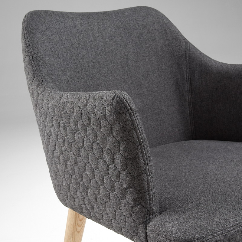 【SALE】DANAI Armchair nat wood quilted fabric dark grey