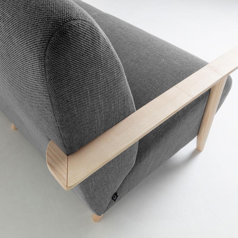 MARTHAN Sofa 2 seaters ash wood natural fabric grey
