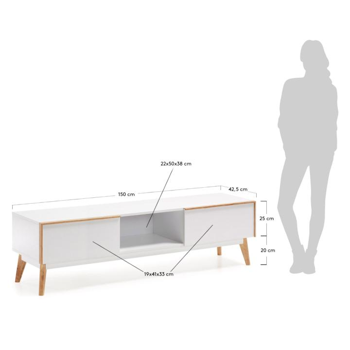 MEETY Tv cabinet 150x45 mdf matt white laquer