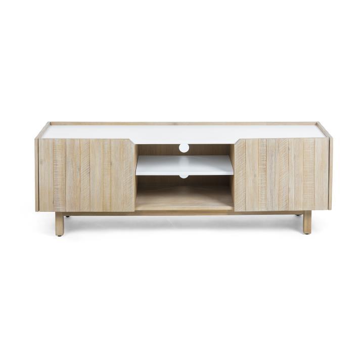 TROPEA Tv cabinet 160x55 acacia wood, mdf matt white