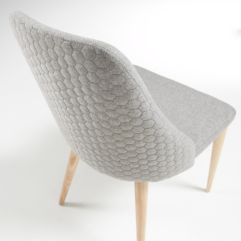 ROXIE Chair natural wood quilted fabric light grey