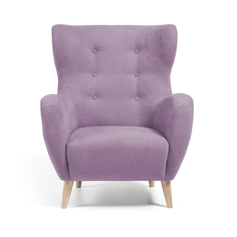 【SALE】PASSO Armchair natural wooden legs, fabric dusty pink