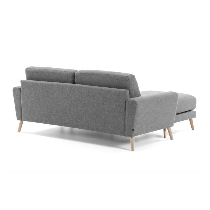 GUY Sofa chaise longue 2 seaters wood fabric grey