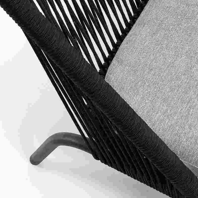 STAD Sofa 2 seaters black metal black rope
