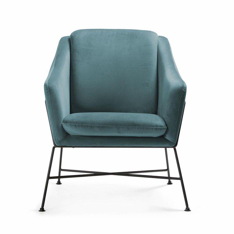 BRIDA Armchair metal black fabric Turquoise velvet